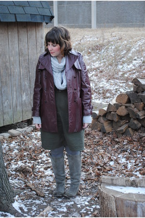 silver riding Urban Outfitters boots - crimson vintage etienne aigner jacket - h