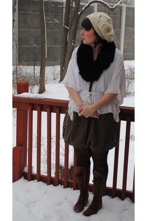 brick red vintage boots - ivory Urban Outfitters hat - dark brown argyle tights