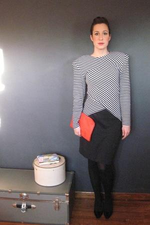 black MIskabelle dress - red MIskabelle purse - black tights - black shoes