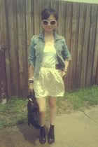 blue Mango jacket - white mphosis t-shirt - white Zara skirt - black wittner sho