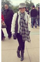 black Zara vest - white hongkong brand jacket - gray River Island scarf - purple