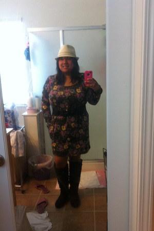 deep purple knee high suede Lane Bryant boots - Forever 21 dress - cream fedora