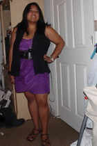 purple tube Hurley dress - black ANA vest - dark brown Timberland sandals