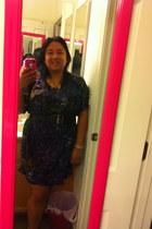 shirt dress Allen B dress - black strappy born sandals - black lulu belt