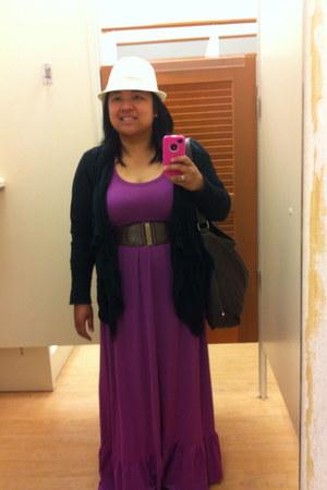 amethyst Mossimo dress - beige Wanted hat - dark brown Nine & Co bag - black Jes