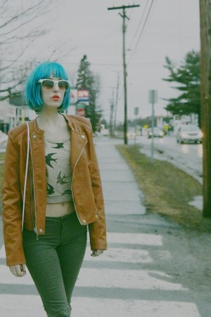 tawny vegan leather thrifted vintage jacket - dark green thrifted jeans