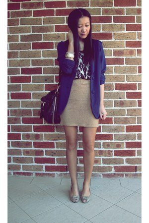 navy navy blazer metalicus blazer - black Prada bag - eggshell Tigerlily top