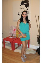 turquoise blue NY & Co romper - tan coach bag - light purple Topshop heels