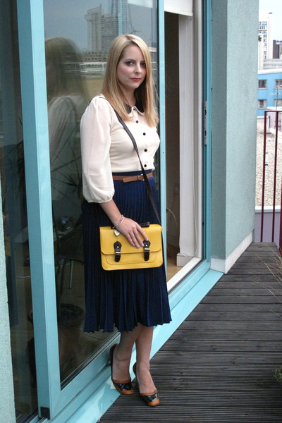 asos blouse - satchel Primark bag - pleated asos skirt - nw3 heels