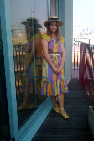 floral print Secondhand dress - straw Primark hat - Hobbs NW3 sandals