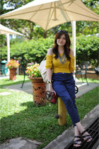 navy zara blue pants Zara pants - yellow Chocolate Chips blouse
