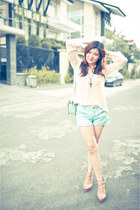 light pink ayumi castle heels - light pink GOWIGASA bag - light blue Zara shorts