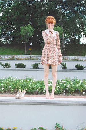 salmon Stradivarius dress - beige no brand heels