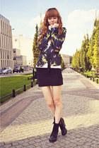 black New Yorker boots - white Stradivarius t-shirt - black Stradivarius skirt