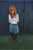 brown H&M boots - off white cropp top - heather gray H&M skirt - vintage belt