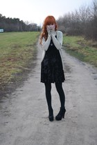 Stylowe Butki heels - vintage dress - Stradivarius cardigan