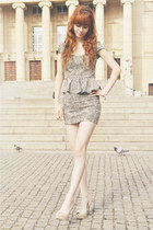 off white Stradivarius dress - eggshell no name heels