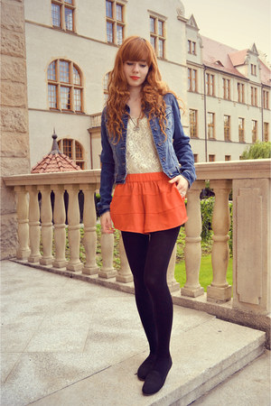carrot orange H&M shorts - blue denim Stradivarius jacket