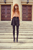 nude lace Topshop shirt - black CzasNaButy shoes - black H&M skirt