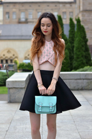 light pink Stradivarius top - light blue Primark bag