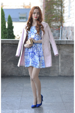 light blue Sheinside dress - bubble gum second hand coat