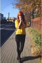 black New Yorker shoes - yellow vintage sweater - black Stradivarius skirt