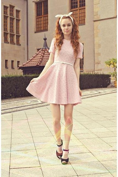 light pink Orsay dress - white Stradivarius accessories - black Papilion heels