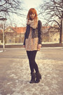 Stradivarius-dress-leather-h-m-jacket-h-m-scarf-new-yorker-heels