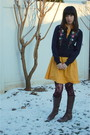 Blue-forever-21-sweater-gold-modcloth-dress-red-target-tights-brown-ariat-