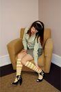 Green-jcrew-shirt-gray-silencenoise-skirt-yellow-jcrew-socks-black-seychel
