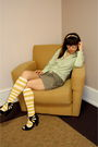 Green-jcrew-shirt-gray-silencenoise-skirt-yellow-jcrew-socks-black-seychel