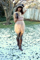 brown Ariat boots - beige Rodarte for Target dress - brown Anthropologie hat