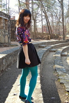 black H&M dress - black Joie skirt - green Target tights - black Jildor shoes -