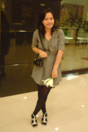 gray Insight dress - black unbranded tights - silver Charles & Keith shoes - sil