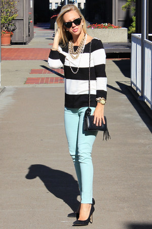 Jcrew pants - Chanel purse - coach heels - Jcrew top - brooch Chanel accessories