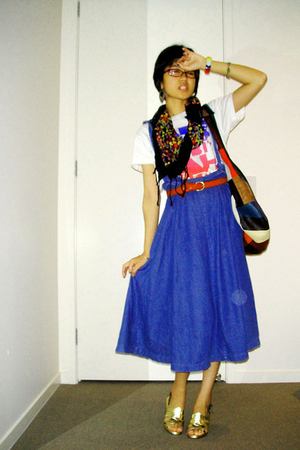 t-shirt - floral scarf - multicolour bag - denim overall skirt - shoes