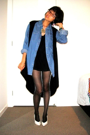 black vest - white vintage shoes - denim shirt