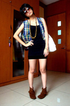 gold accessories - brown shoes - black dress - blue vest