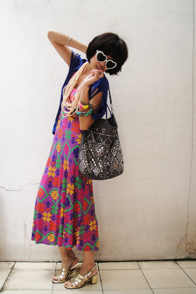 gold vintage shoes - purple summer Sportsgirl dress - blue kreyshawl cottonink