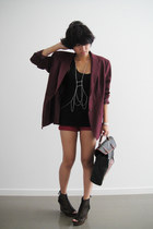 maroon boyfriend thrifted blazer - red thrifted jeans