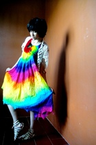 white knitted vest - red rainbow tye-dye dress - gold