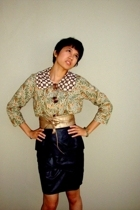 Batik top - ruffled skirt - moms belt