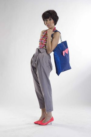 silver tailor ICONIA pants - orange neon putris shoes - blue glitter bag iconia