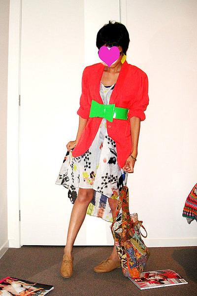 coral blazer - bow belt - dress - jazz shoes - accessories