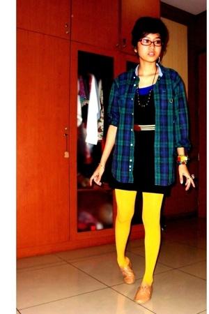 vintage flannel shirt - supre dress - vintage belt - mustard stockings - Ebay sh
