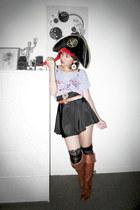 Wittner boots - vintage skirt - Sportsgirl belt - lace supre top