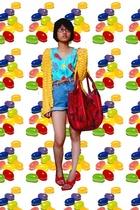 vintage knit jacket - fruits top - vintage highwaisted jeans - purse - some supe