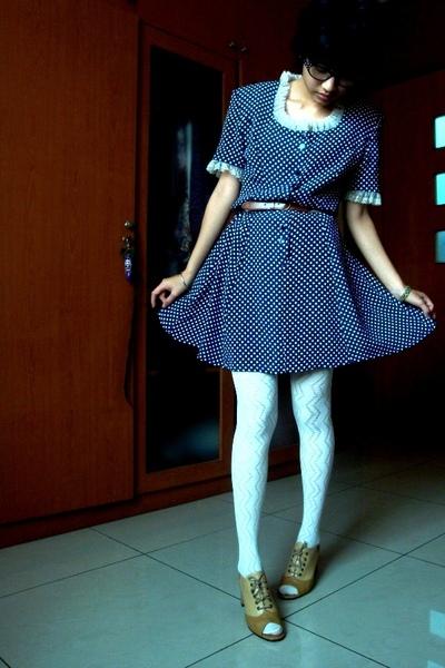 polkadot dress - stockings - shoes