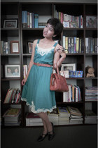 turquoise blue summer vintage dress - black mary-jane vintage shoes