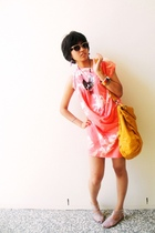 pink dress - gold accessories - white shoes - black